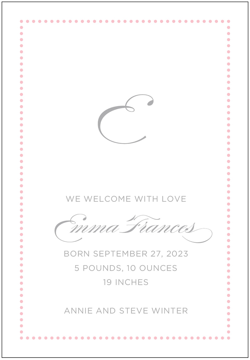 Emma Custom Birth Announcement
