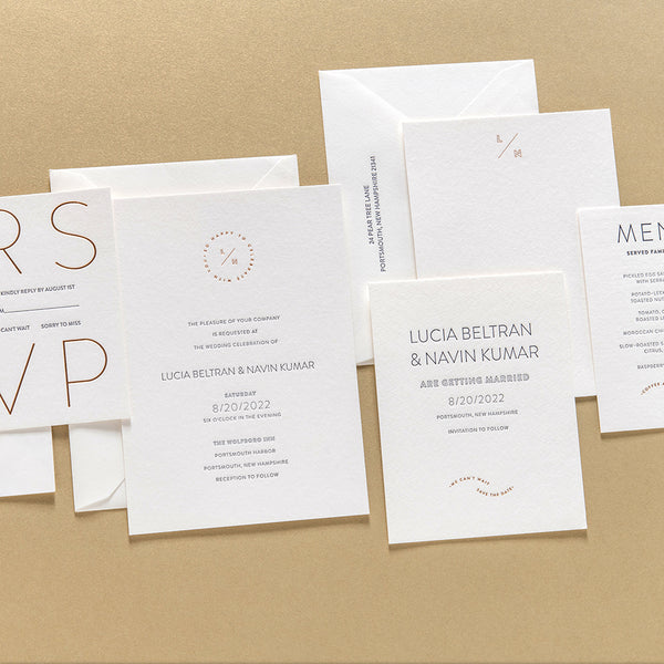 Lucia + Navin Custom Wedding Invitation