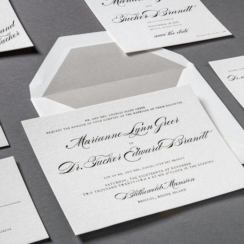 Marianne + Tucker Custom Wedding Invitation
