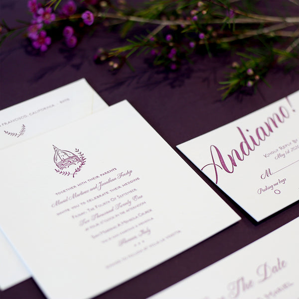 Mariel + Jonathan Custom Wedding Invitation