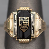 SLHS 1971 Three Ships Onyx Yellow and White Gold Class Ring 10k