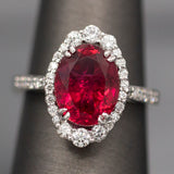 Handcrafted Rubellite Tourmaline and Diamond Cocktail Ring in 18k White Gold