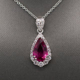 Handcrafted Vivid Pink Tourmaline and Diamond Pendant Necklace in 18 White Gold