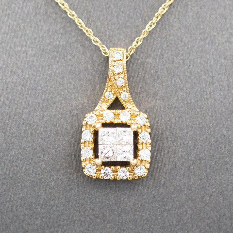 Illusion Set Princess Cut Diamond Pendant Necklace in 10k Yellow Gold