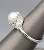 Handcrafted Akoya 8mm Pearl and Diamond Crown Ring in 14k White Gold
