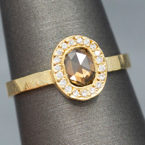 Handcrafted Rose Cut Fancy Brown Diamond Ring in 18k Yellow Gold