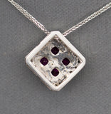 Handcrafted 1.00ctw Ruby and Diamond Pendant Necklace in 14K White Gold 18""