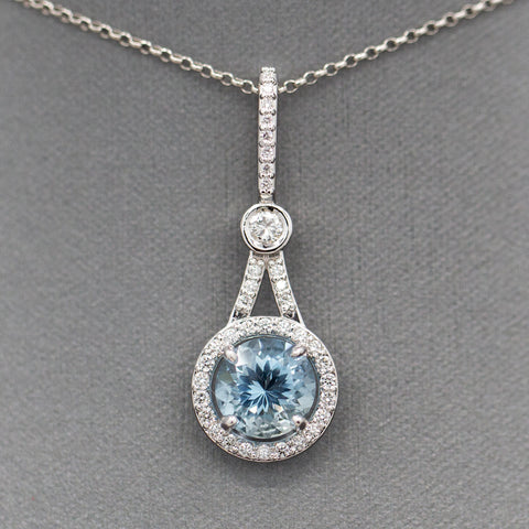Handcrafted 4.00ctw Art Deco Style Aquamarine and Diamond Pendant Necklace in 18k White Gold
