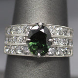 Stunning 4.07ctw Green Sapphire and Diamond Ring in Platinum