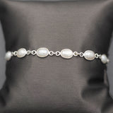 Handcrafted Pearl Link Bracelet in Sterling Silver Adjustable