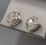 3.22ctw Raw Gray Grey Diamond Rose Cut Stud Earrings in 14k White Gold