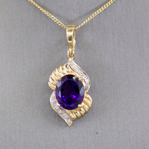 Deep Amethyst and Diamond Accent Pendant Enhancer Necklace in 14k Yellow Gold