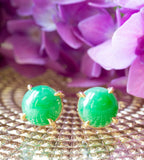 11mm Round Natural Green Jade Cabochon Gold Claw Stud Earrings 14k