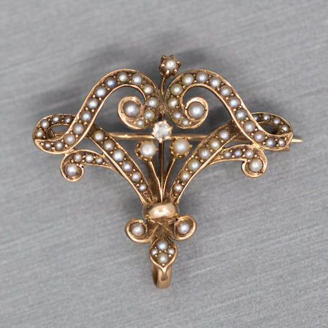 Victorian Art Nouveau Seed Pearl and Diamond Watch Holder Clip Brooch in 14k Gold