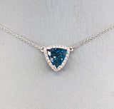 3.30ctw Blue Indicolite Tourmaline and Diamond Necklace in 18k White Gold