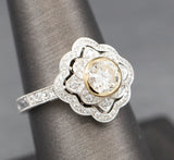 Vintage Style Bezel Set Diamond Engagement Ring with Engraved Band in 14k Yellow and White Gold
