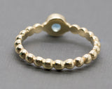 Blue Zircon Stackable Bubble Bead Ring 14k Yellow Gold