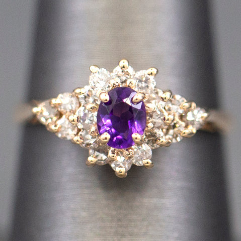 1.04ctw Gorgeous Amethyst and Diamond Ring 14k Yellow Gold