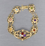 Victorian Revival Scroll Multi Gemstone Bracelet in 14k Yellow Gold