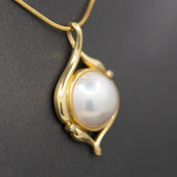 Lustrous Mabe' Pearl and Diamond Pendant in 18k Yellow Gold