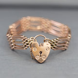 Victorian Gate Padlock Bracelet in 9k Rose Gold