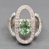 Gorgeous 3.02ctw Green Sapphire and Diamond Cocktail Ring in 14k White Gold