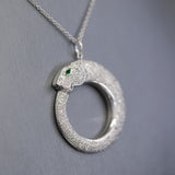 Awesome 2.00ctw Diamond and Tsavorite Panther Pendant Necklace in 18k White Gold