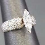1.50ctw Marquise Diamond and Pave' Setting Engagement Ring in 18k White Gold