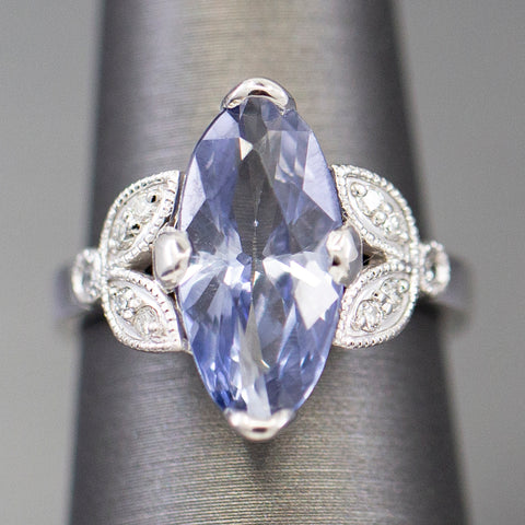 4.6ctw Handcrafted Blue Sapphire and Diamond Ring in 14k White Gold