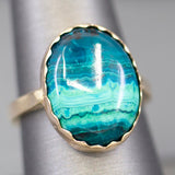 Handcrafted Azurmalachite Sawtooth Bezel Statement Ring in 14k Yellow Gold