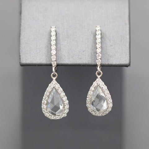 Rose Cut Diamond Teardrop Dangle Earrings in 14k White Gold