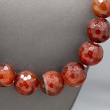 Handcrafted Faceted Carnelian Bead Graduated Necklace with Sterling Silver Toggle