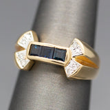 Vintage Sapphire and Diamond Accent Bow Band Ring in 14k Yellow Gold