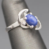 Vintage Blue Star Sapphire and Diamond Accent Petite Moon Ring in 14k White Gold