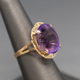 Vintage Handcrafted Carved Green Jadeite Ring in 14k Yellow Gold