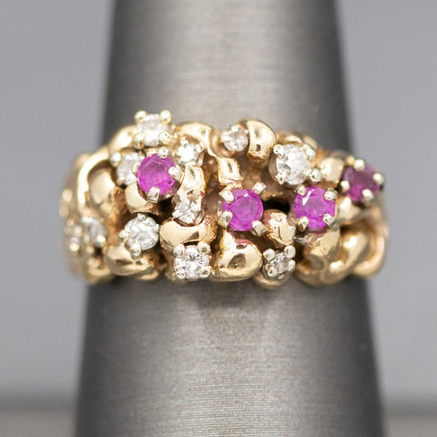 Avant Garde Vintage Ruby and Diamond Cluster Ring in 14k Yellow Gold