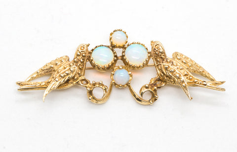 Sweet Victorian Opal and Swallow Bird Pin Brooch in 14k Yellow Gold