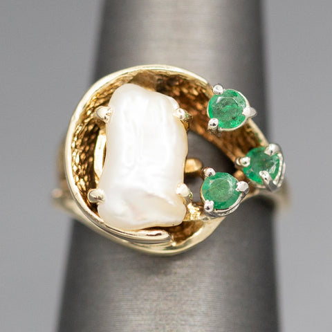 Custom Pearl and Emerald Cocktail Ring in 14k Yellow Gold
