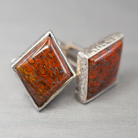Handmade Sterling Silver Petrified Wood Cufflinks