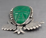 Vintage RAFMEX Mayan Mask Green Onyx Pin Brooch in Sterling Silver