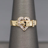 Rich Ruby and Diamond Heart Pendant Slide in 14k Yellow Gold