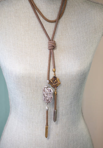 Clifton Nicholson Bronze and Silver Talisman Lariat Necklace