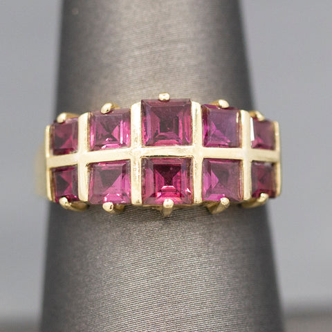 Rhodolite Garnet French Cut Band Ring in 14k Yellow Gold