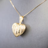 Vintage Puffy Heart Pendant Necklace in 14k Yellow Gold