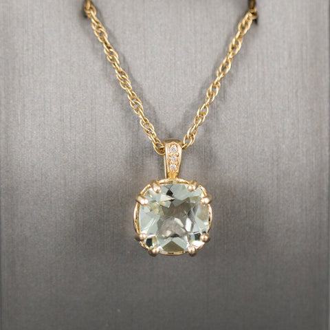 Rare 3.15ctw Green Beryl and Diamond Pendant Necklace in 14k Yellow Gold