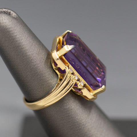 Vintage Amethyst Solitaire Statement Ring in 14k Yellow Gold