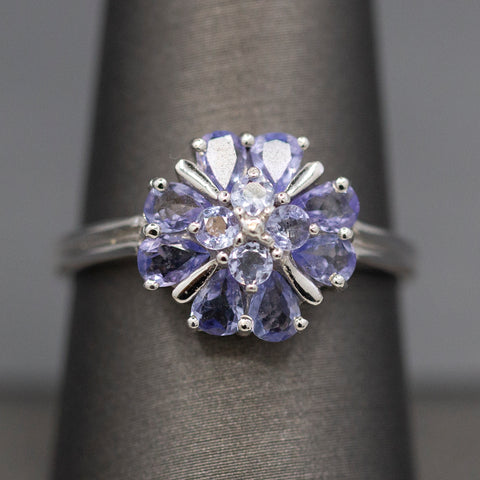 Tanzanite Cluster Cocktail Ring in 14k White Gold