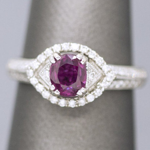 Delightful 1.76ctw Natural Purple Sapphire Ruby & Diamond Ring 18k Size 6.75