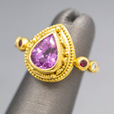 Zaffiro Designer Pink Spinel Ruby and Diamond Cocktail Ring in 18k and 22k Gold