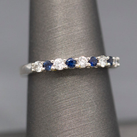 Sparkling Seven Stone Diamond Wedding Band Ring in 14k Yellow Gold